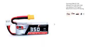 Gaoneng GNB 2S 7.6V 350mAh HV 4.35V 50C/100C Lipo Battery