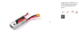 Happymodel 2S 300mAh 7.6V HV 80C Upgrade Lipo Battery