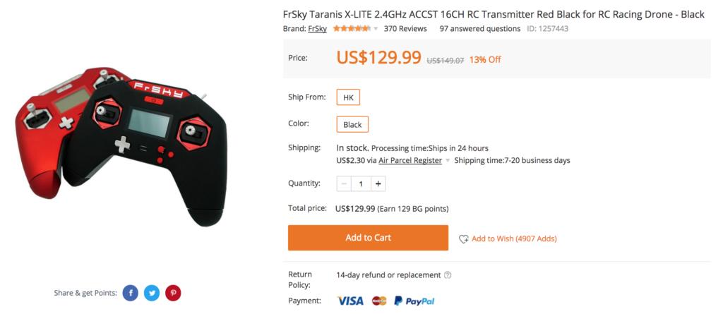 FrSky Taranis X-LITE 2.4GHz ACCST 16CH RC Transmitter