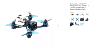 Eachine Wizard TS130 FPV Racing Drone PNP Omnibus F4 OSD 20A Dshot600 40CH Smart Audio 200mW VTX