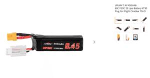 URUAV 7.4V 450mAh 60C/120C 2S Lipo Battery XT30 Plug for iFlight CineBee 75HD