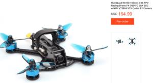 HumQuad HX150 150mm 2-6S FPV Racing Drone F4 OSD FC 20A ESC w/MINI VT5804 VTX Caddx F2 Camera BNF