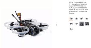 GEPRC CinePro 4K HD 3-4S FPV Racing Drone Advanced Version PNP/BNF F722 FC DUAL Gyro ICM20689 Caddx Tarsier 4K 35A ESC 5.8G 48CH 0~500mW VTX - FrSky R-XSR Receiver