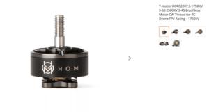 T-motor HOM 2207.5 1750KV 5-6S 2500KV 3-4S Brushless Motor CW Thread for RC Drone FPV Racing - 1750KV
