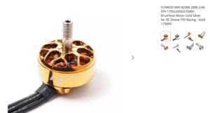 FLYWOO NIN N2306 2306 2-6S FPV 1750/2450/2750KV Brushless Motor Gold Silver