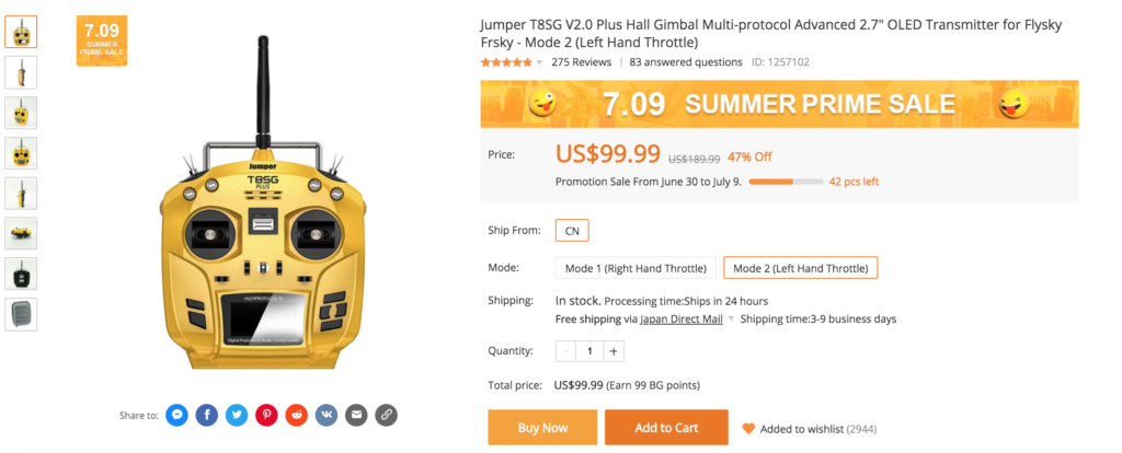 "Jumper T8SG V2.0 Plus Hall Gimbal Multi-protocol Advanced 2.7"" OLED Transmitter for Flysky Frsky - Mode 2 (Left Hand Throttle)"