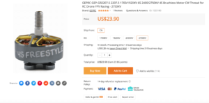 GEPRC GEP-GR2207.5 2207.5 1700/1920KV 6S 2400/2750KV 4S Brushless Motor CW Thread for RC Drone FPV Racing - 2750KV