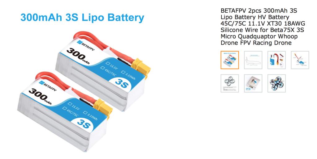 BETAFPV 2pcs 300mAh 3S Lipo Battery HV Battery 45C/75C 11.1V XT30 18AWG