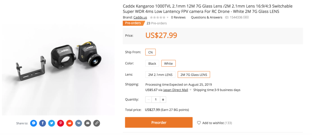 Caddx Kangaroo 1000TVL 2.1mm 12M 7G Glass Lens /2M 2.1mm Lens 16:9/4:3 Switchable Super WDR 4ms Low Lantency FPV camera For RC Drone - White 2M 7G Glass LENS