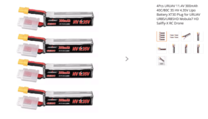 4Pcs URUAV 11.4V 300mAh 40C/80C 3S HV 4.35V Lipo Battery XT30 Plug for URUAV UR85/UR85HD Mobula7 HD Sailfly-X RC Drone