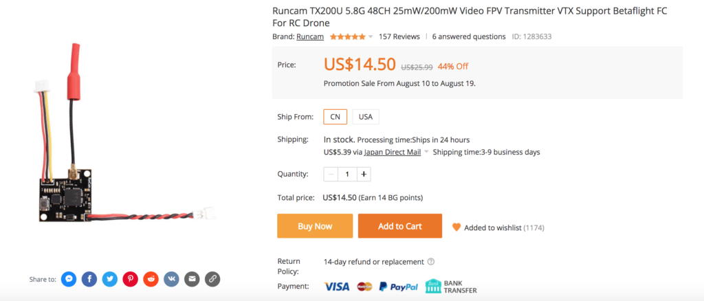Runcam TX200U 5.8G 48CH 25mW/200mW Video FPV Transmitter VTX Suppor