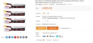 4Pcs URUAV 11.4V 300mAh 40C/80C 3S HV 4.35V Lipo Battery XT30 Plug