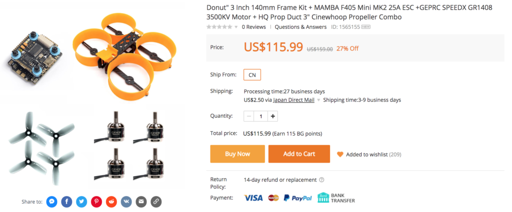 "Donut"" 3 Inch 140mm Frame Kit + MAMBA F405 Mini MK2 25A ESC +GEPRC SPEEDX GR1408 3500KV Motor + HQ Prop Duct 3"" Cinewhoop Propeller Combo"