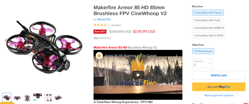 Armor 85 HD 85mm Brushless FPV CineWhoop