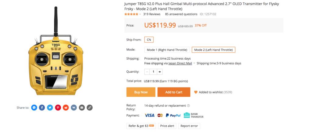 Jumper T8SG V2.0 Plus Hall Gimbal