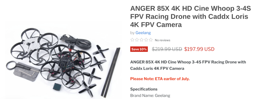 ANGER 85X 4K HD Cine Whoop 3-4S FPV Racing Drone with Caddx Loris 4K FPV Camera