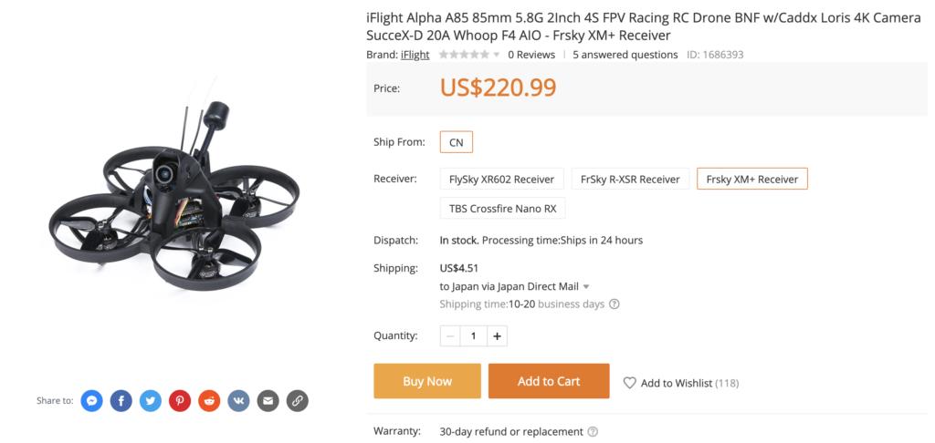 iFlight Alpha A85 85mm 5.8G 2Inch 4S FPV Racing RC Drone BNF w/Caddx Loris